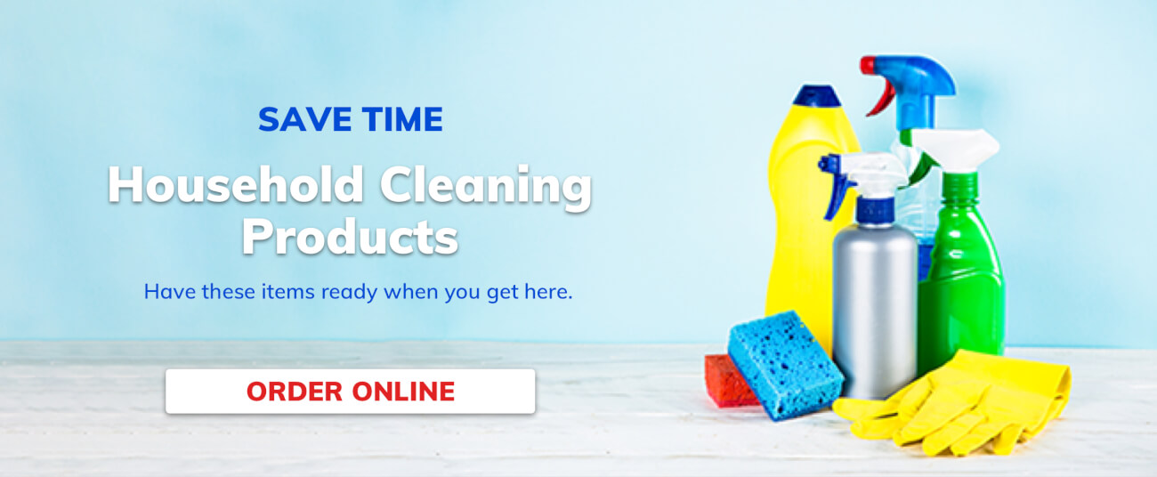 Assortment of cleaning products.